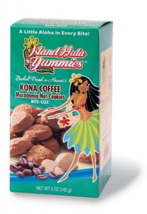 "Island Hula Yummies - BITE SIZE ""Kona Coffee Macadamia Nut"" Cookies"