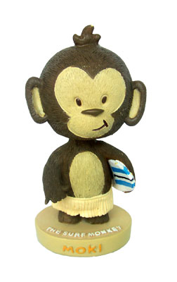 """mini bobble head - surf monkey (moki)"""