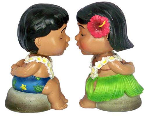 """kissing bobble heads"""