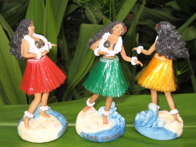 """mini - hula lady"" (red skirt)"