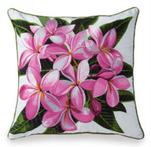 embroidered pillow cover - pink plumeria (cotton TWILL)