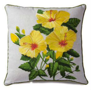 embroidered pillow cover - yellow hibiscus (cotton LINEN)