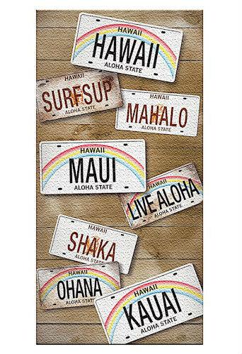"beach towel - ""hawaii license plates"""