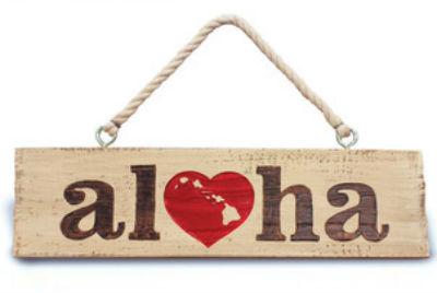 """hanging sign - """"aloha"""""""
