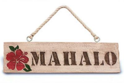 """hanging sign - """"mahalo"""""""
