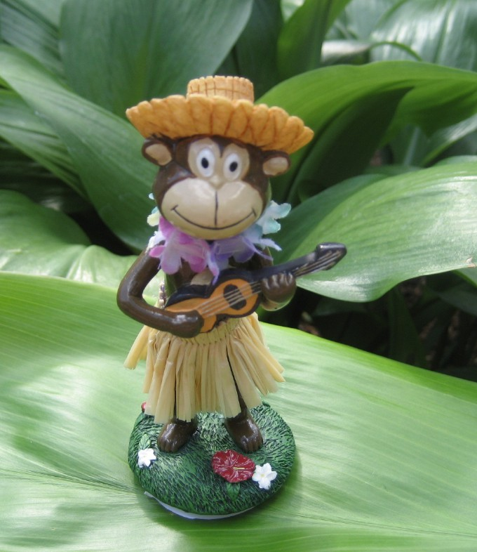 """mini monkey with straw hat"""