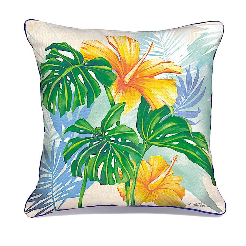 "lauren roth - pillow cover - ""monstera hibiscus"" (Cotton LINEN)"