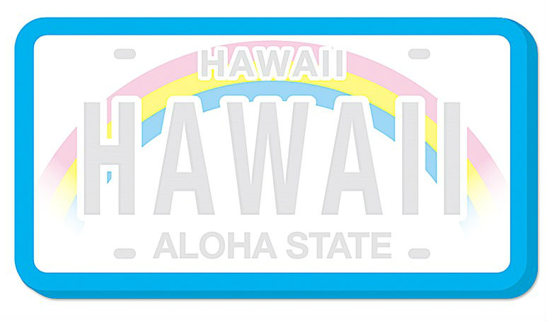 "shaped sticky notes - ""hawaii license plate"""