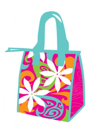 "lunch totes - ""groovy tiare gardenia"""