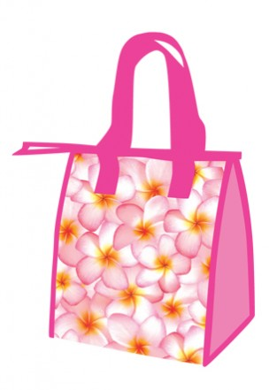 "lunch totes - ""pink plumerias"""