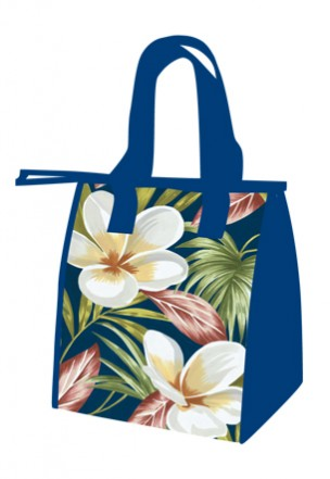 """lunch totes - """"plumerias - navy"""""""