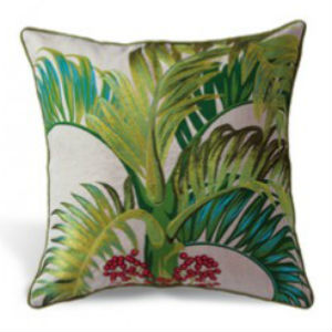 "embroidered pillow cover - ""manilla palm"" (cotton LINEN)"