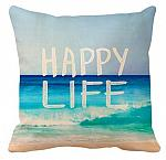 """canvas pillow cover - """"happy life"""""""