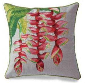 "embroidered pillow cover - ""heleconia"" (cotton LINEN)"