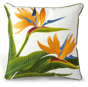 "embroidered pillow cover - ""bird of paradise"" (cotton TWILL)"