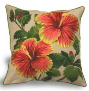 "embroidered pillow cover - ""red/yellow hibiscus"" (Cotton LINEN)"