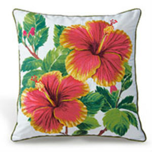 """embroidered pillow cover - """"red/yellow hibiscus"""" (cotton twill)"""
