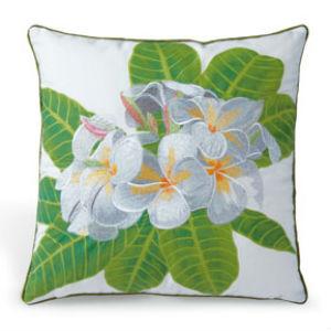 "embroidered pillow cover - ""white plumeria"" (cotton TWILL)"