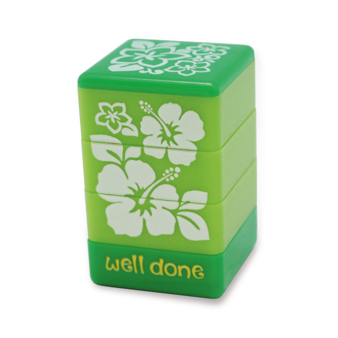 """stamps - """"floral"""" (green)"""
