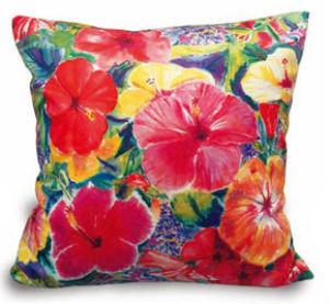 """velvet pillow cover - """"hibiscus impression"""""""